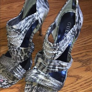 Guess Snake-print Strappy Heels